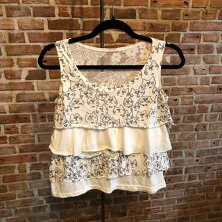 White Top - Ruffles and Lace - Cat design