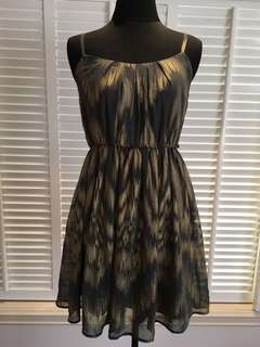Olive Dress with Gold Accent