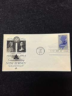 US 1964 New Jersey Statehood FDC Stamp