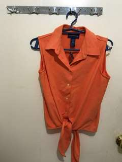 Charter Club Tangerine Sleeveless Blouse