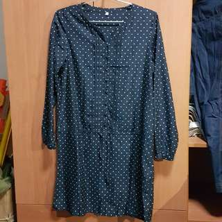 Polka Dotted Button Tunicn/Dress in Nacy
