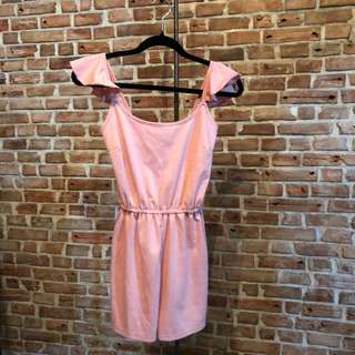 Pink Romper - with Ruffles strap