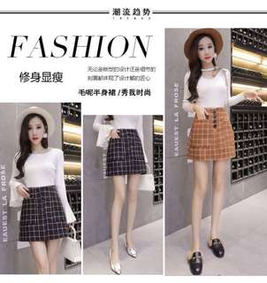 [PO] Grid Skirt with Pockets