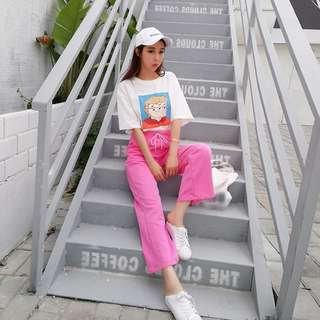 🔼粉萌運動褲🔼寬鬆卡通人物印花T恤+繫帶鬆緊腰休閒長褲兩件套裝