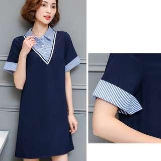 72721 #大碼條紋拼接假兩件襯衫裙   尺码:5XL L 4XL 3XL 2XL XL  颜色:藏青色