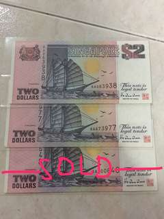 Singapore $2 ship series AA prefix