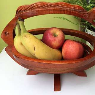 Beautiful lacquered wooden fruit basket
