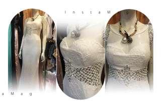 🚚 新款 改良式旗袍 手工水鑽蕾絲開衩 長禮 白
