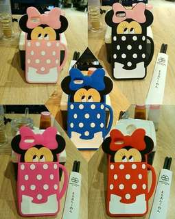 3D minnie face in polkadot cup case