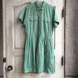 古著/溫蒂漢堡風 美式綠白直條紋短袖洋裝