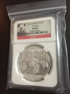 2013 China Panda MS69, Silver, 1 oz