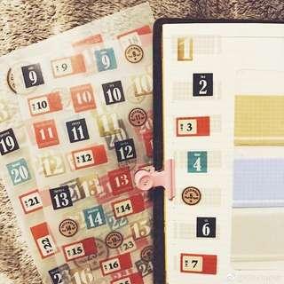 Planner book date sticker