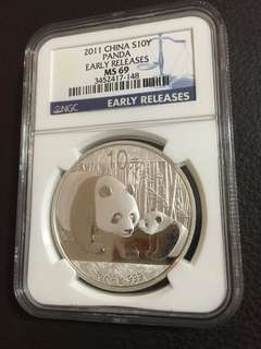 2011 China Panda, Early Release MS69, Silver, 1 oz