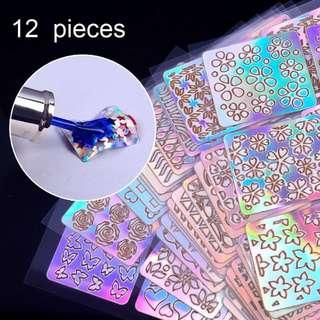 12 Sheets/Lot Laser Nail Vinyls Mixed 36 Irregular Shape Stencils Polish DIY Craft Sticker Nail Art Tips Hollow Decals