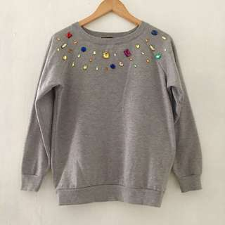 W&J Bedazzled Gray Sweater
