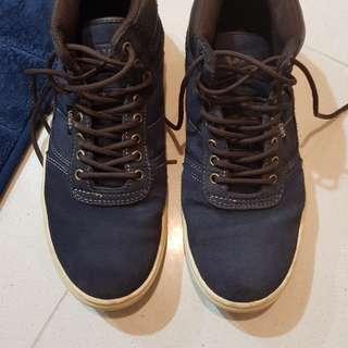 Blue vans high cut shoe