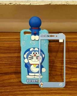 Softshell panda 3D peeking blue doraemon + tempered glass