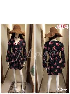 🚚 J804全新美國xhilaration春天氣質百搭V領時尚顯瘦清新碎花減齡長袖氣質連衣裙 dress J-Lounge