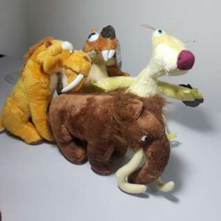 Clearance! 4 Brand New Ice Age 3 Soft Toys