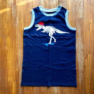 Cherokee navy blue muscle tee with grey trim with skateboarding T-Rex