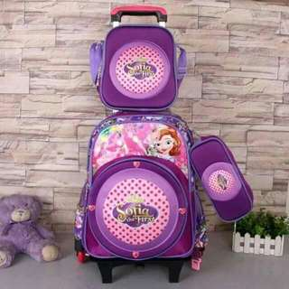 trolley bag 16inches backpack detachable with light lunchbag pencil case  p1350