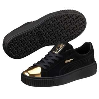 Puma Black and Gold Suede Shoes