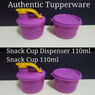 Authentic Tupperware Snack Cup Dispenser 110ml (1) Snack Cup 110 (1) 8.09cm(D) x 5.19cm(H)  Selling $11.00/Set
