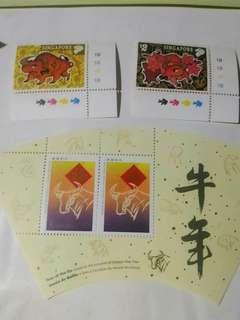 特價 牛年/新加坡 共5張小型張 及10個 郵票