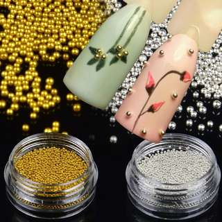 1 Bottle Gold Silver Optional Mini Caviar Beads Gel Polish Nail Art Tips Pearl Ball Pro Manicure Pedicure DIY 3D Decoration