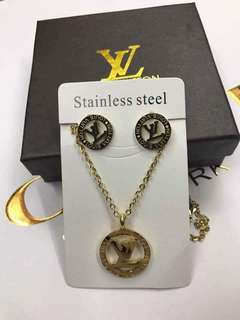 LV Set Necklace & Earings Stainless