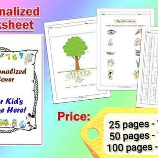 Personlized Kids Workbook