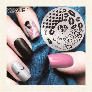 YZWLE 1 Sheet Stamping Nail Art Image Plate, 5.6cm Stainless Steel Template Polish Manicure Stencil Tools (YZWLE-14)