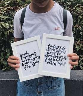 Framed Handlettered Quotes