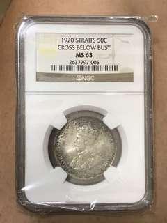 Straits Settlements 1920H 50 Cents MS63