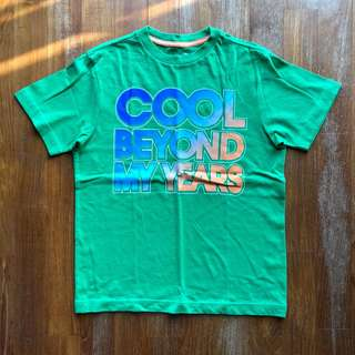 """Old Navy green short-sleeved tee with """"Cool Beyond My Years"""" text"""