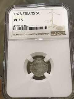 Straits Settlements 1878 5C VF35