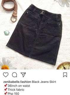 Preloved Black Jeans Skirt