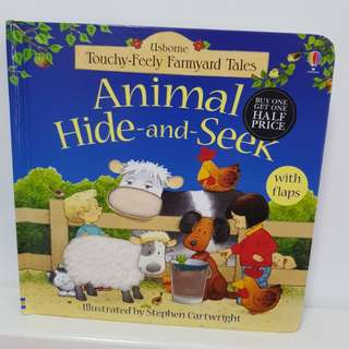 Usborne Board Book Touchy-Feely Farmyard Tales Animal Hide and Seek
