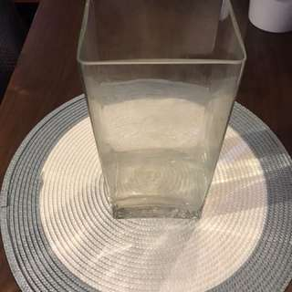 Sleek Tall Glass Vase 10cm x 8cm x 22cm