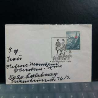 1975 Austria stamp on envelope
