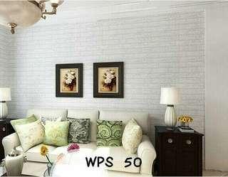 Wallpaper Dinding Motif Bata Putih Uk. 10m