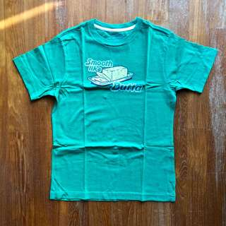 """Old Navy green short-sleeved tee with """"Smooth Like Butta"""" text"""