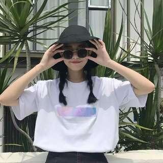 🚚 春夏新款原宿鐳射貼女孩百搭寬鬆學生短袖t恤