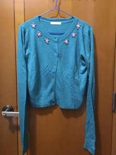 Lowrys Farm 湖水綠開胸薄冷衫