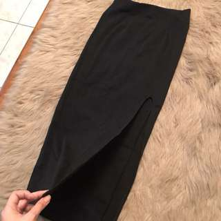 High Slit Long Black Skirt