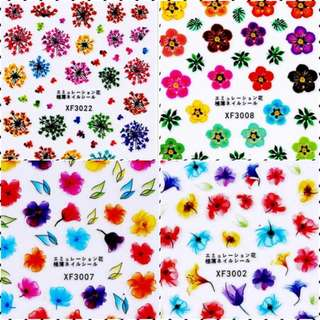 1 Sheet 3D XF Very Thin Back Glue Nail Stickers Charm DIY Flower Designs Fashion Accessories Colorful Nail Art Decals