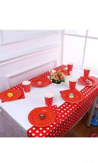 Disposable Party Table Cloth - Polka dot. Red,  Yellow, Blue & Green