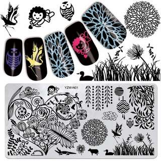 YZWLE 1Pc 6x12cm Charming Spring Stamp Image Plate Stamping Nail Art DIY Image Plate Template For Girl Manicure