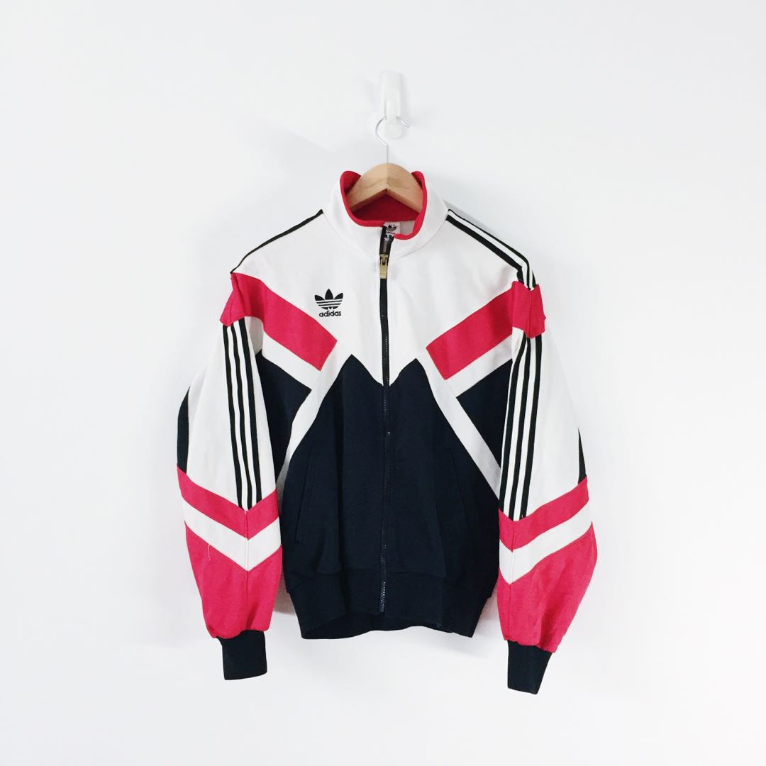a7b5c87b242a Adidas Vintage Ladies 3 Stripes Full Zip Side Pocket Track Jacket ...
