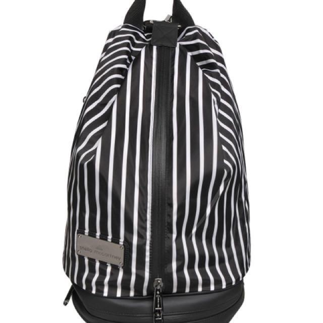 da7210f029ed Adidas Stella McCartney Studio Striped Twill Backpack in Black White ...